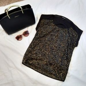 EUC Express SZ XS gold and black sequined top